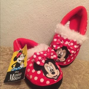 Disney Minnie Mouse Toddler Slippers Small7/8 NWT